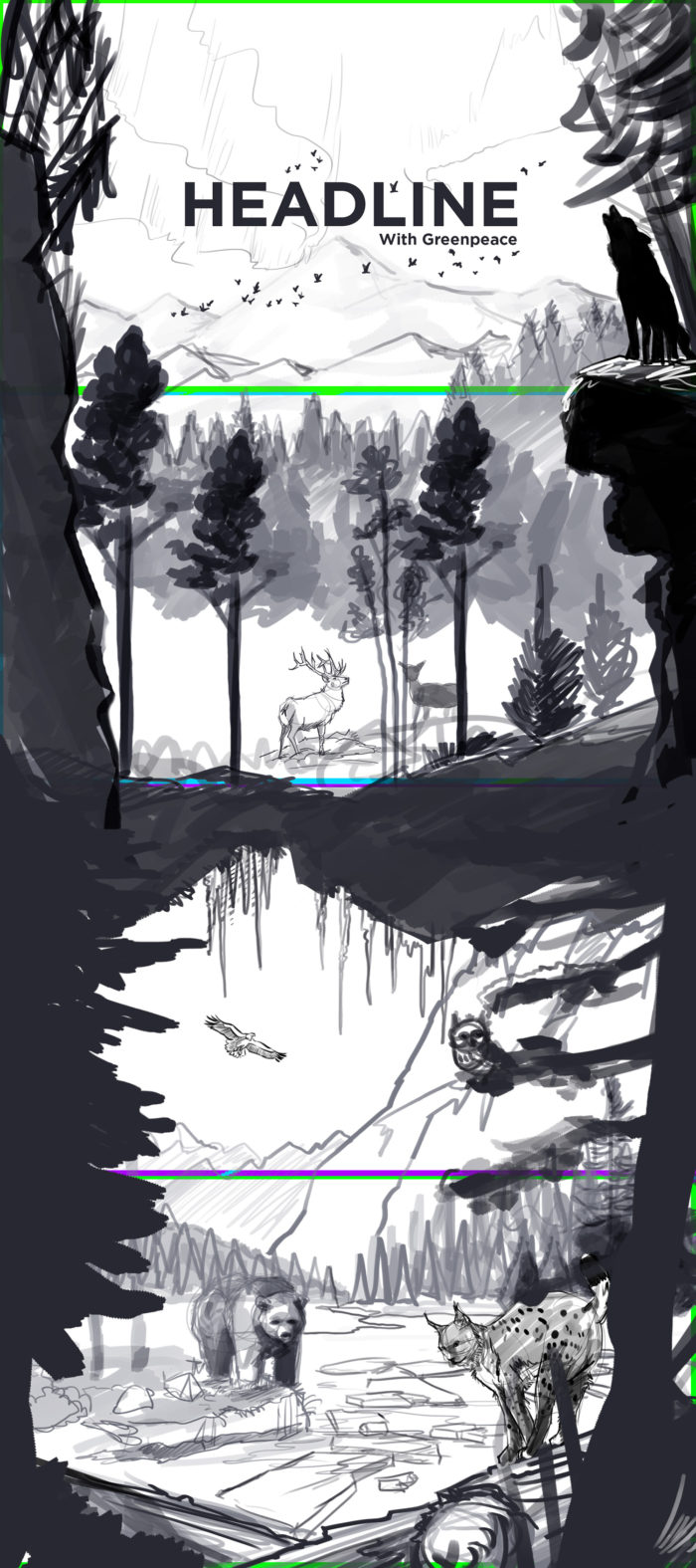 Illustrations vectoriel - Projet Greenpeace -Headline - Campione Orlando - Graphisme - Paralaxe - Site web - Alpaga Studio - Sketch